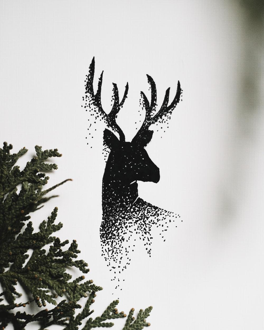 black deer graphic art