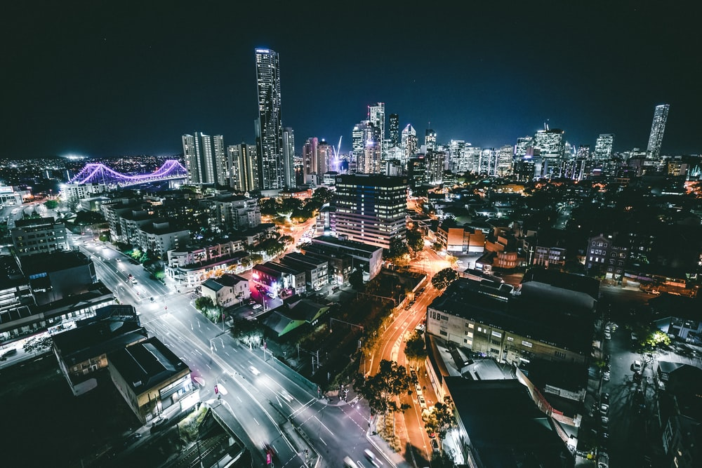 aerial photo of cityscape during nighttime