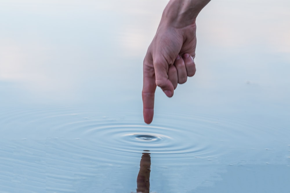 person touching the water