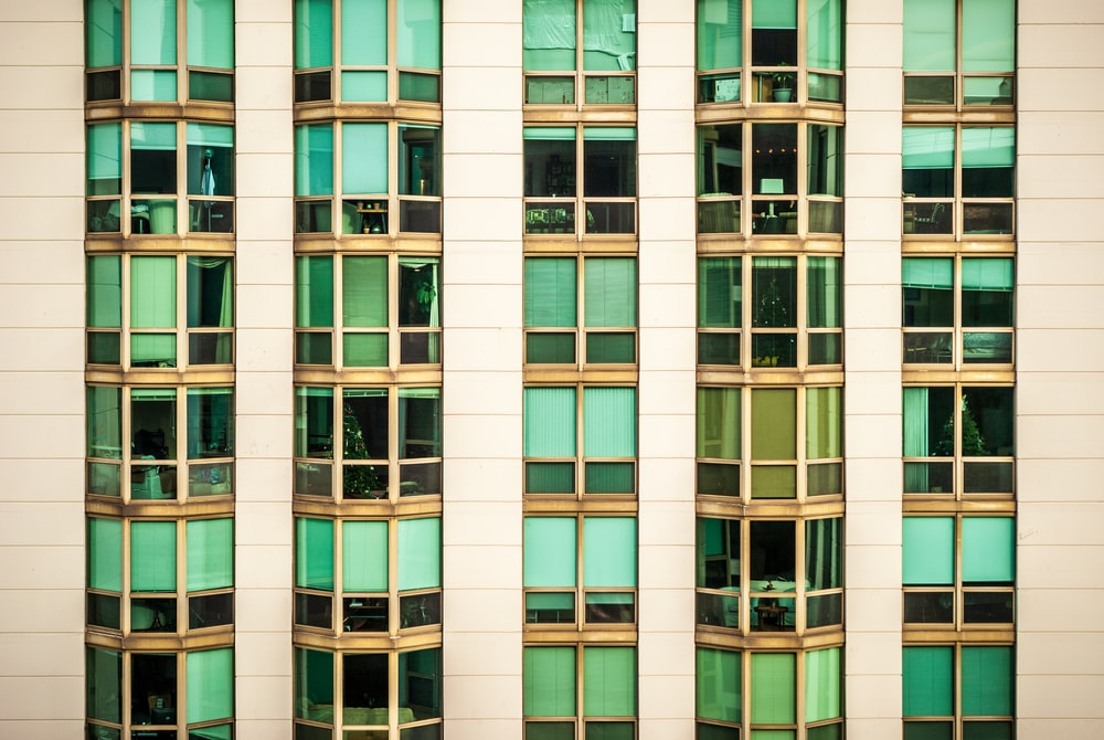 green and brown building windows