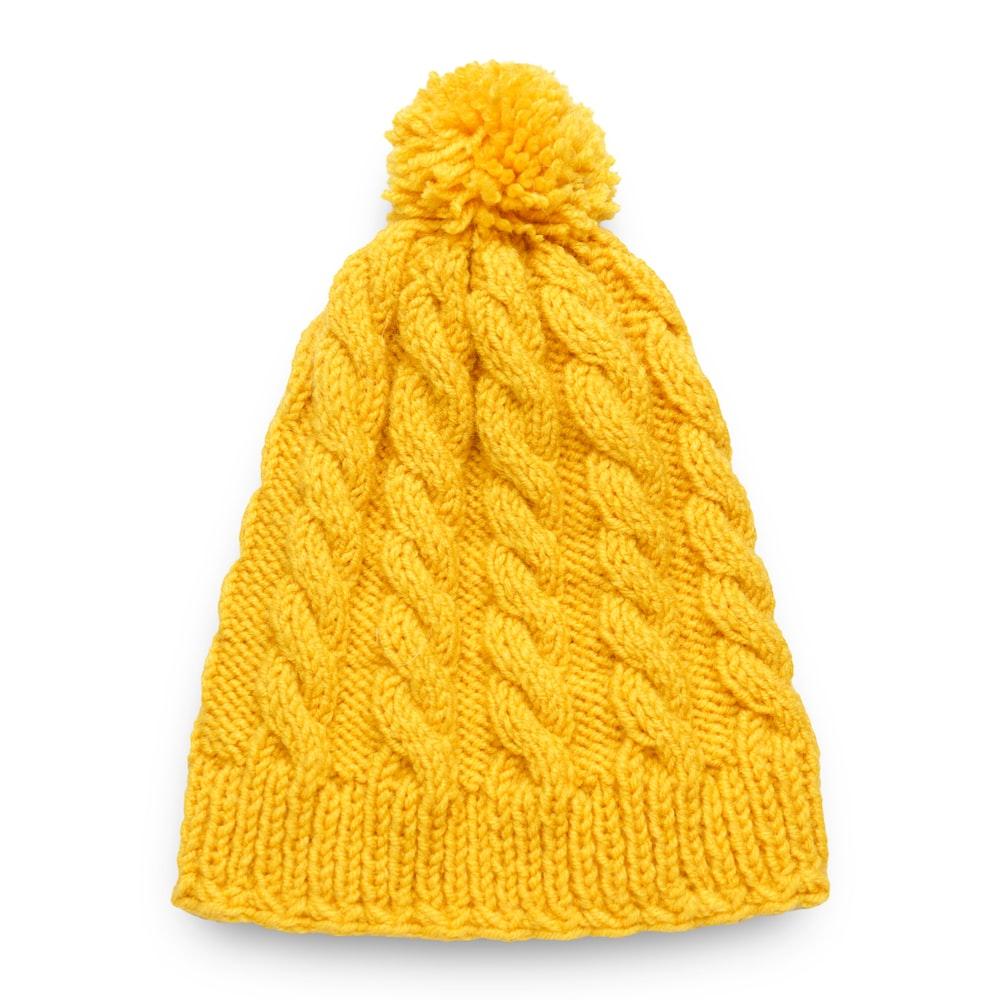 yellow knit bubble cap