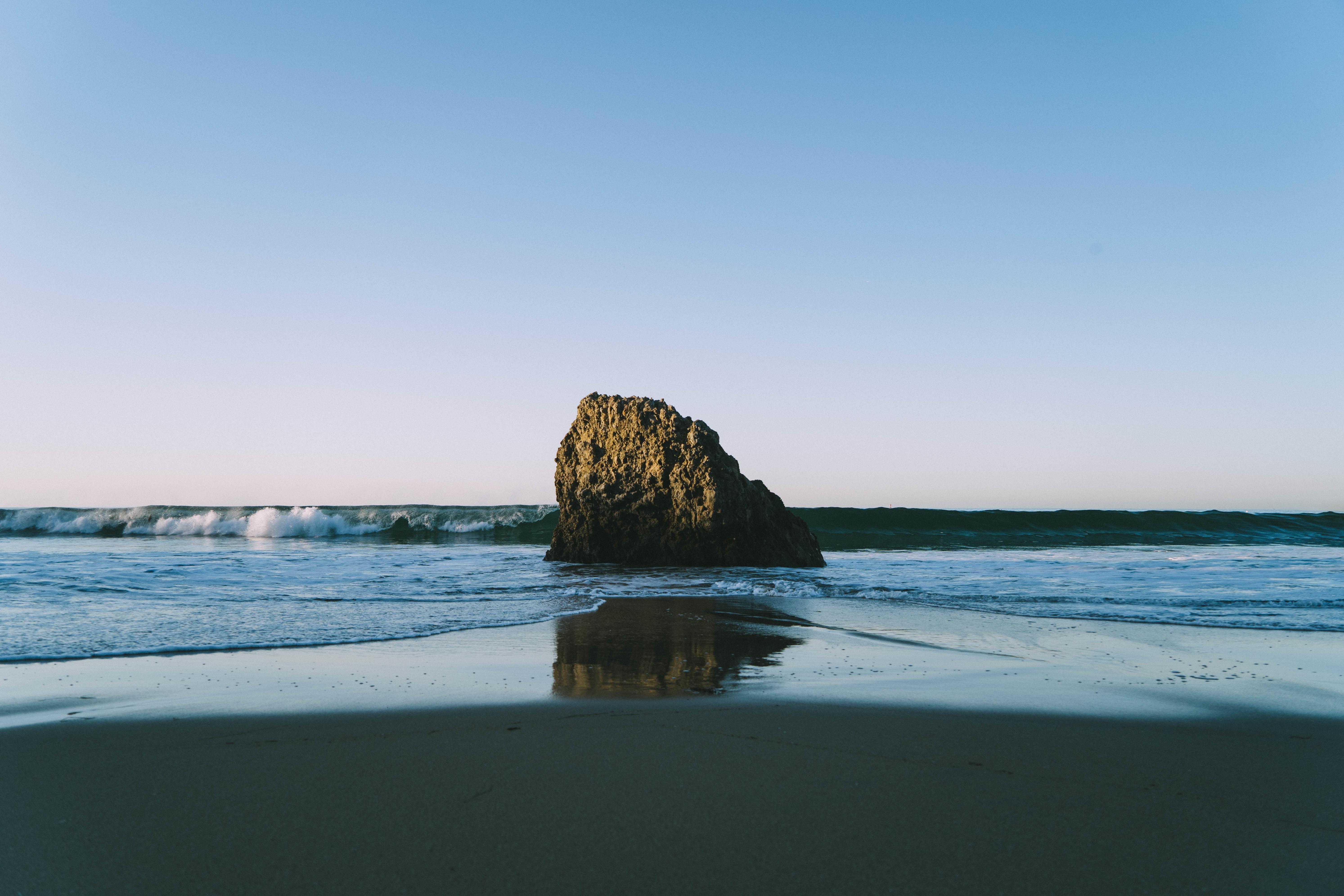 Sunrise at Corona del Mar State Beach in California.
