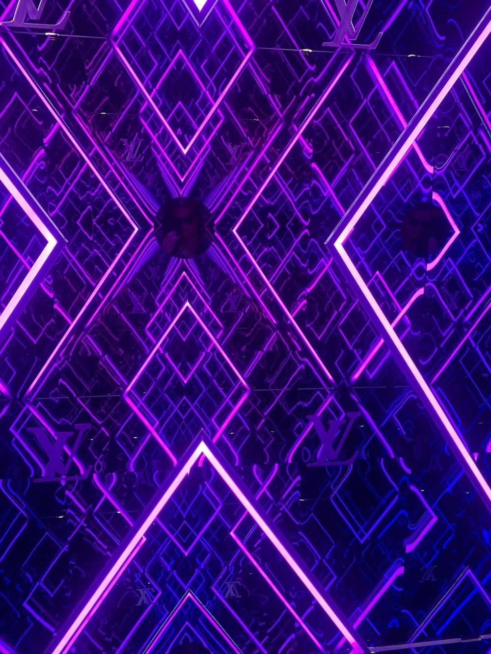 turned on purple neon lights