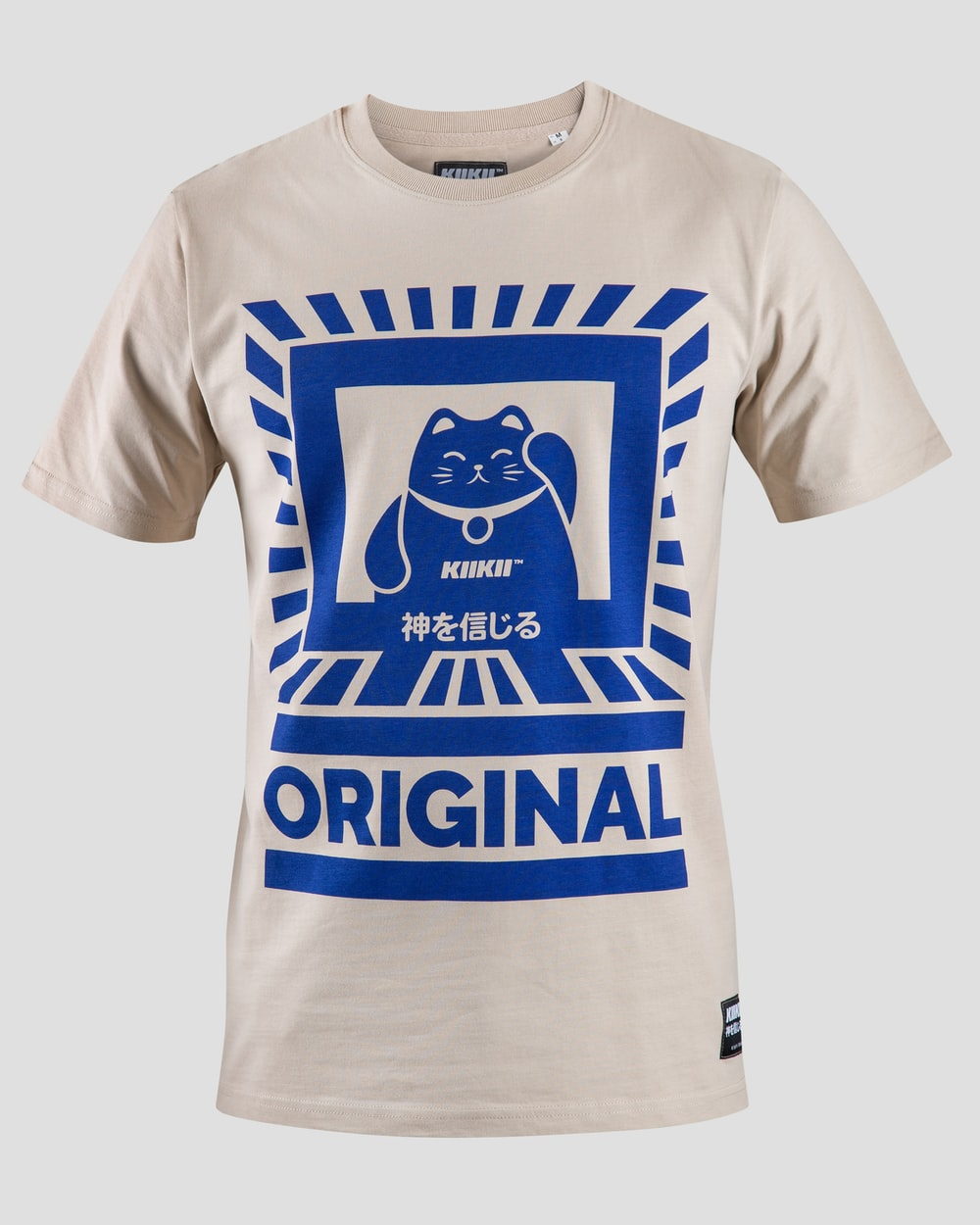 white and blue cat-printed crew-neck T-shirt