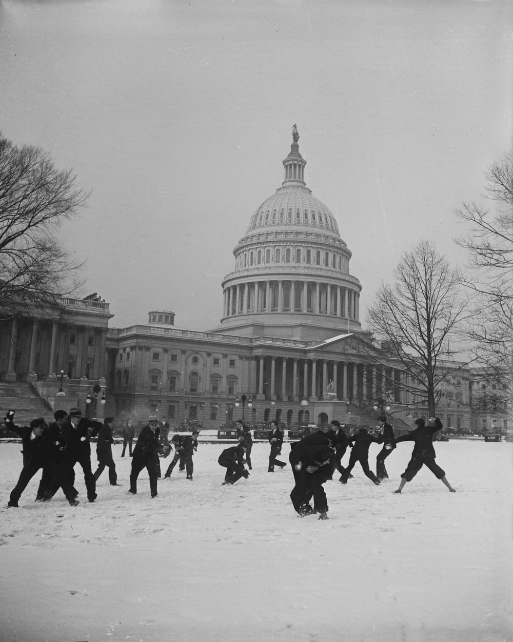 Snowball fight in front of U.S. Capitol, Washington, D.C