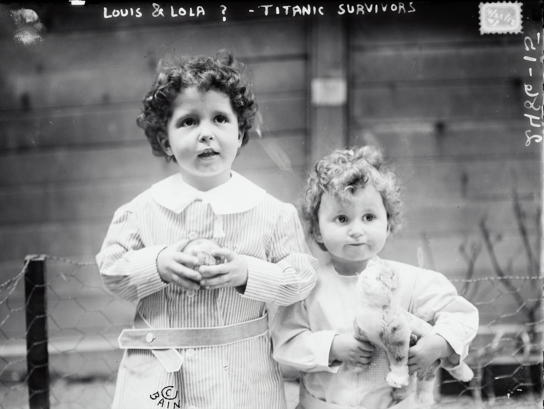 Louis & Lola ? -- TITANIC survivors. Glass negative from the George Grantham Bain Collection, [1912]. Library of Congress Prints & Photographs Division.  Photo taken before the 'orphans' of the Titanic were fully identified. The boys are French brothers Michel (age 4) and Edmond Navratil (age 2). To board the ship, their father assumed the name Louis Hoffman and used their nicknames, Lolo and Mamon. Their father died in the disaster of the RMS TITANIC, which struck an iceberg in April 1912 and sank, killing more than 1,500 people.   https://www.loc.gov/item/2014691309/