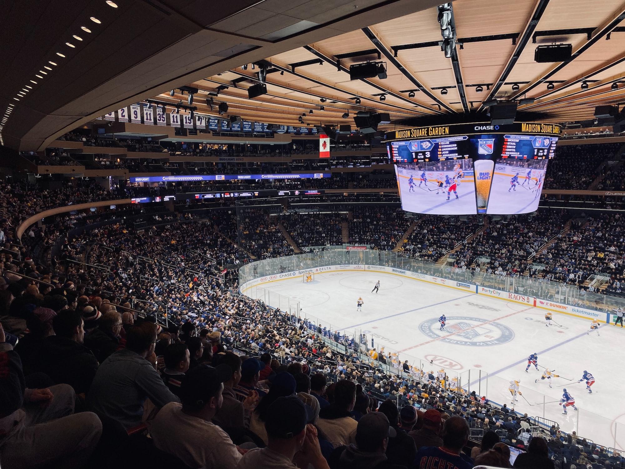 Rangers vs Predators at Madison square garden msg
