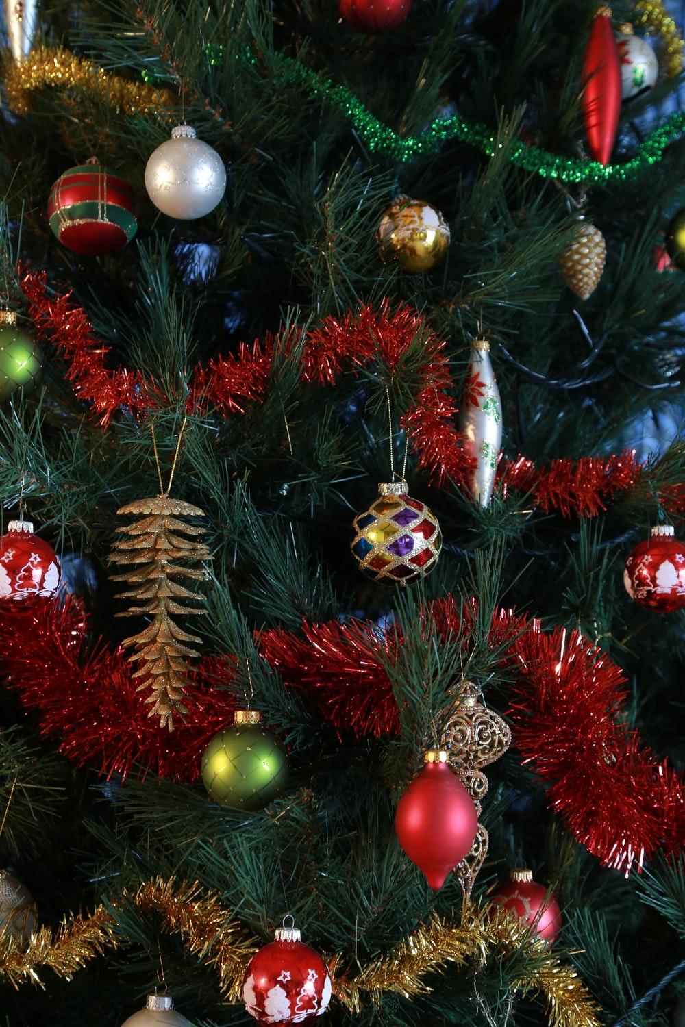red and green bauble balls