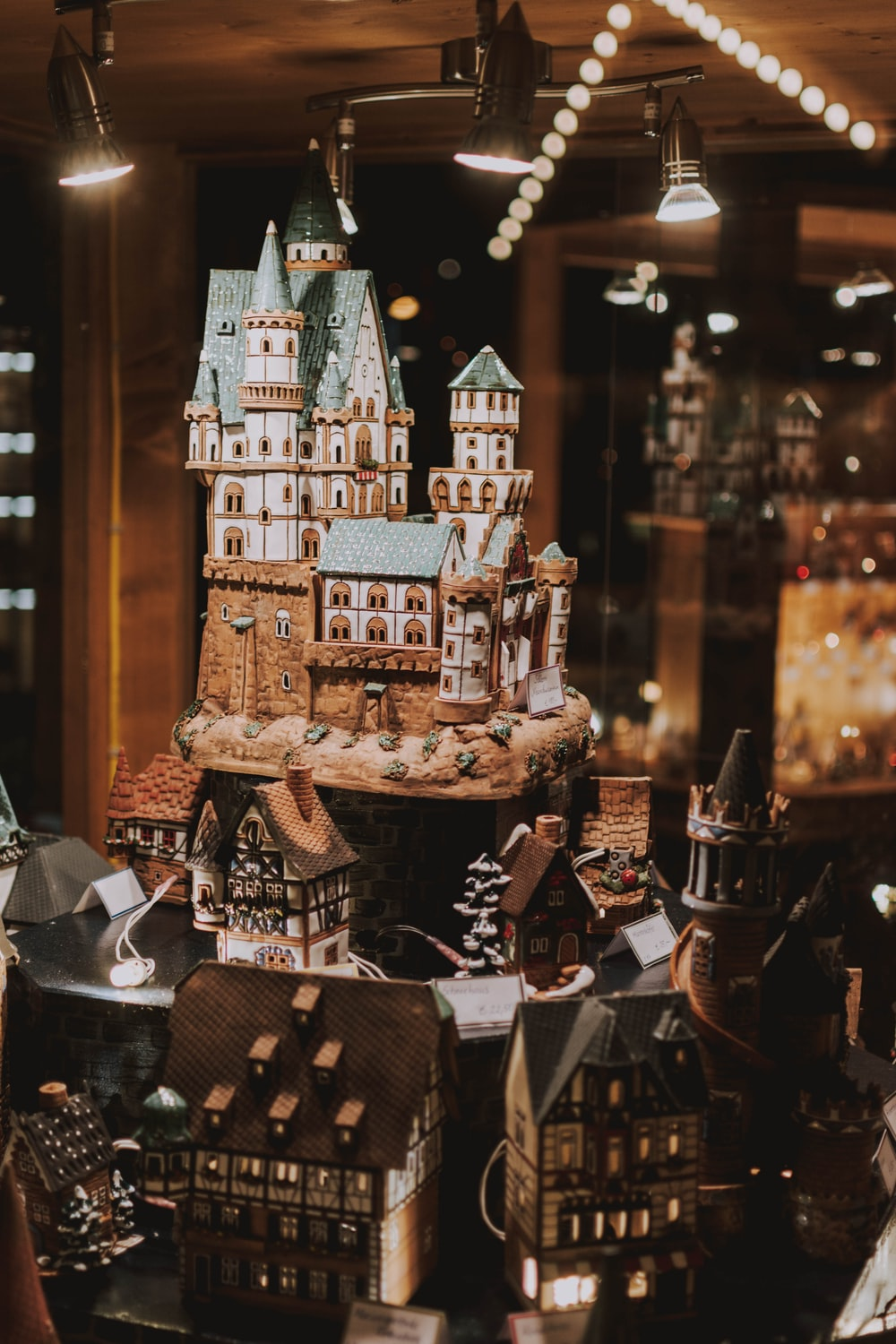 brown and green castle miniature decor