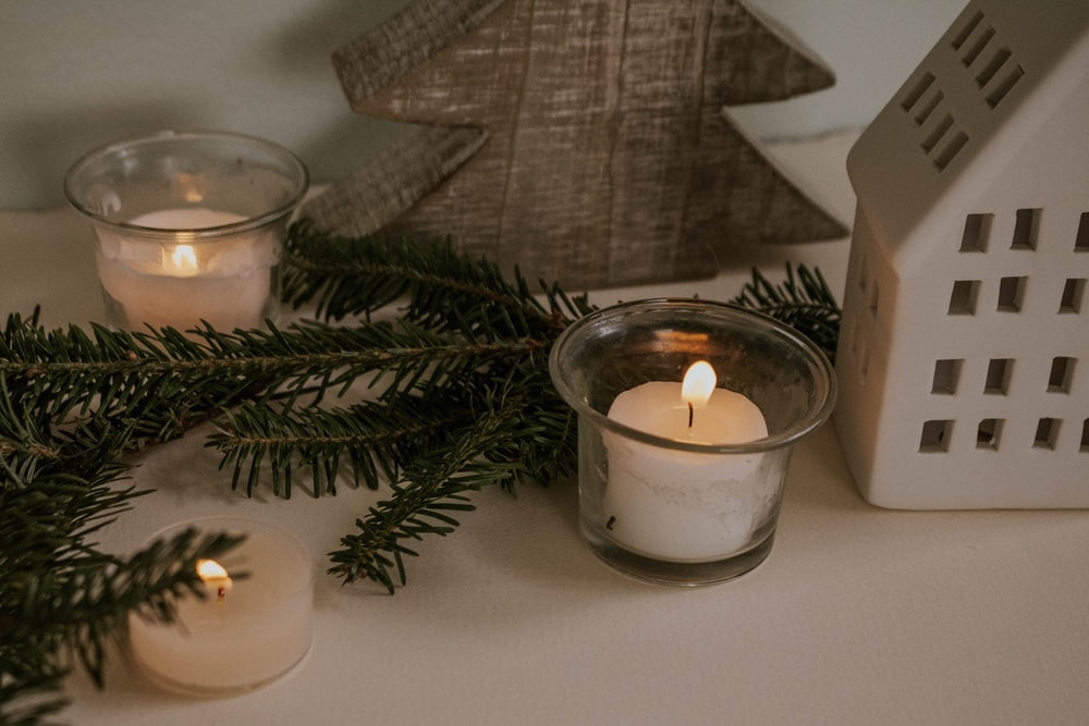 clear and white votive candle