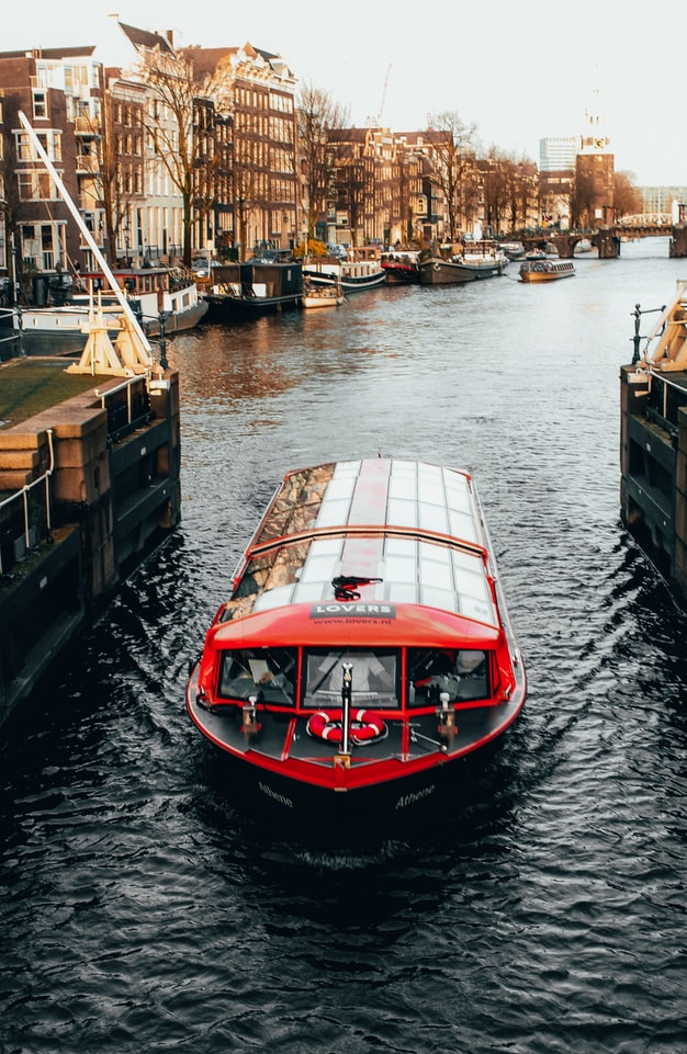 Canal cruise sailing in Amsterdam