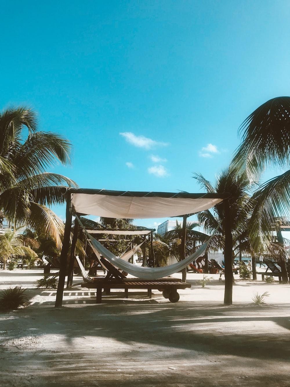 white hammock under canopy