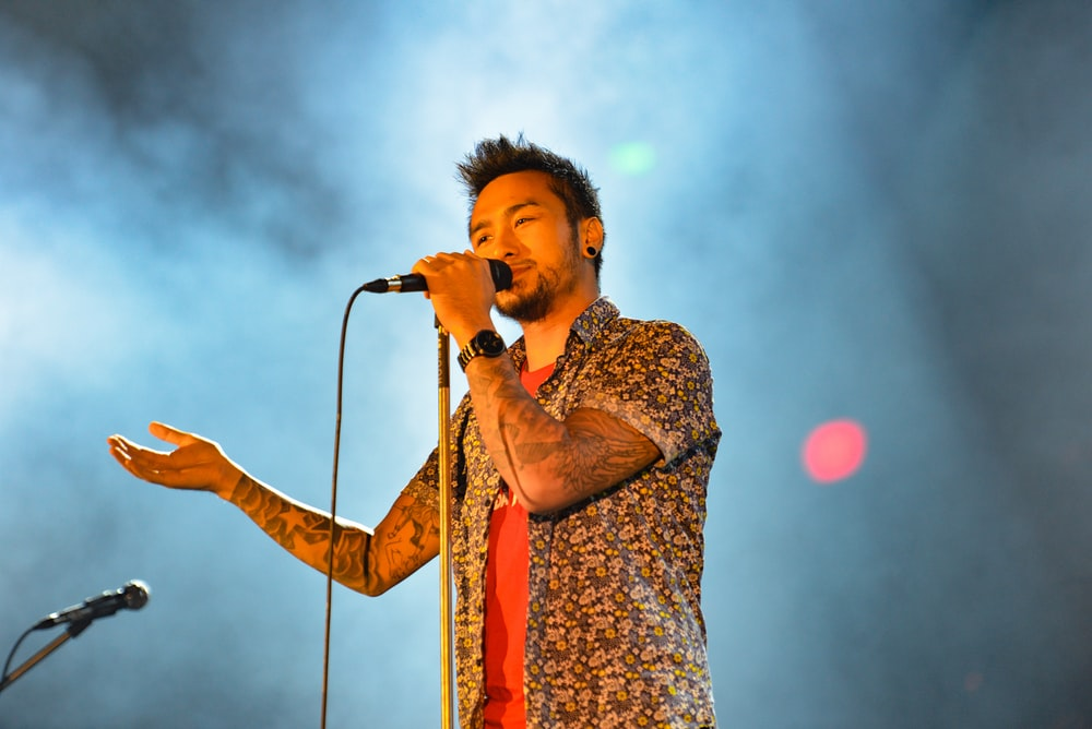 man talking on microphone