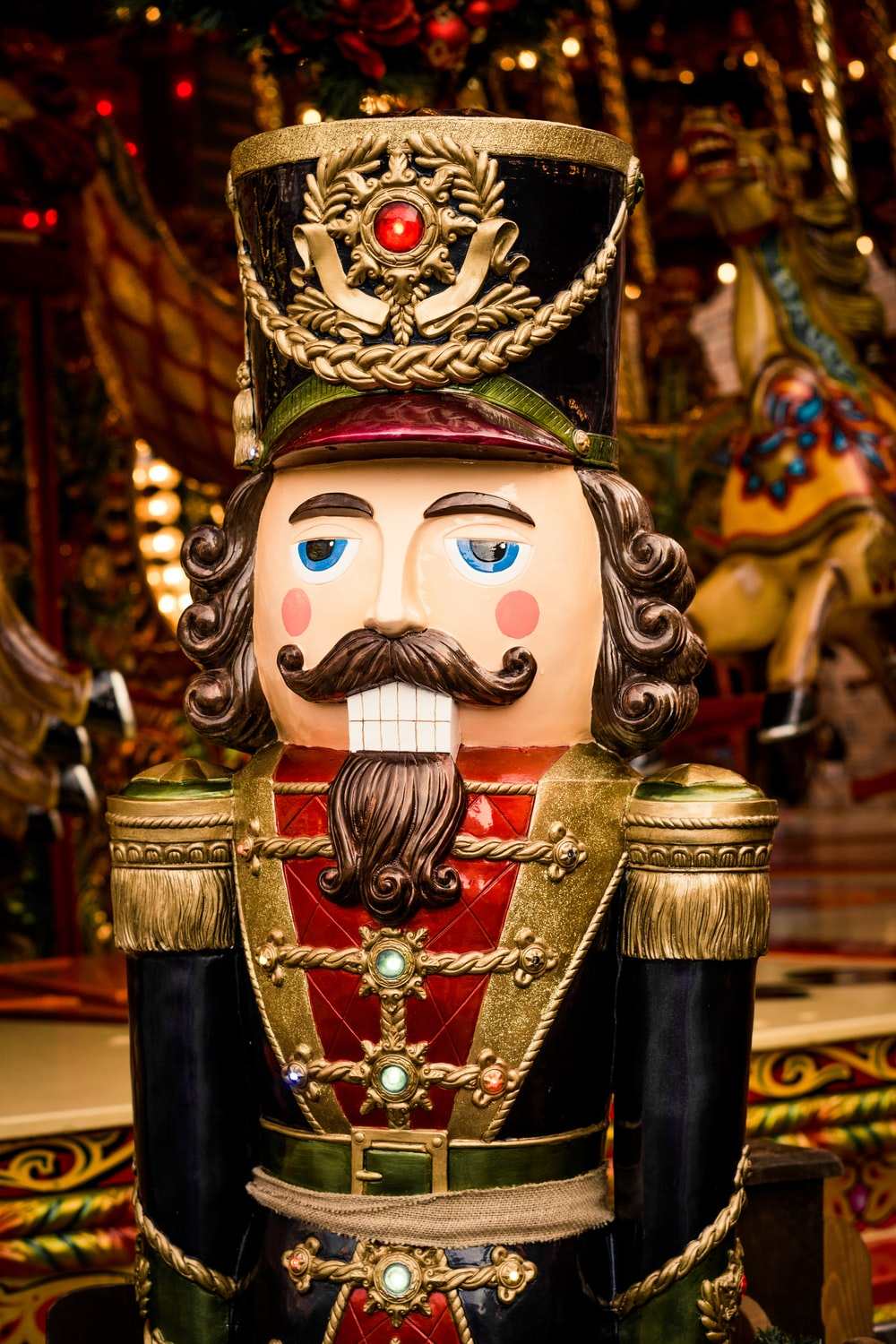 red, gold, and black nutcracker