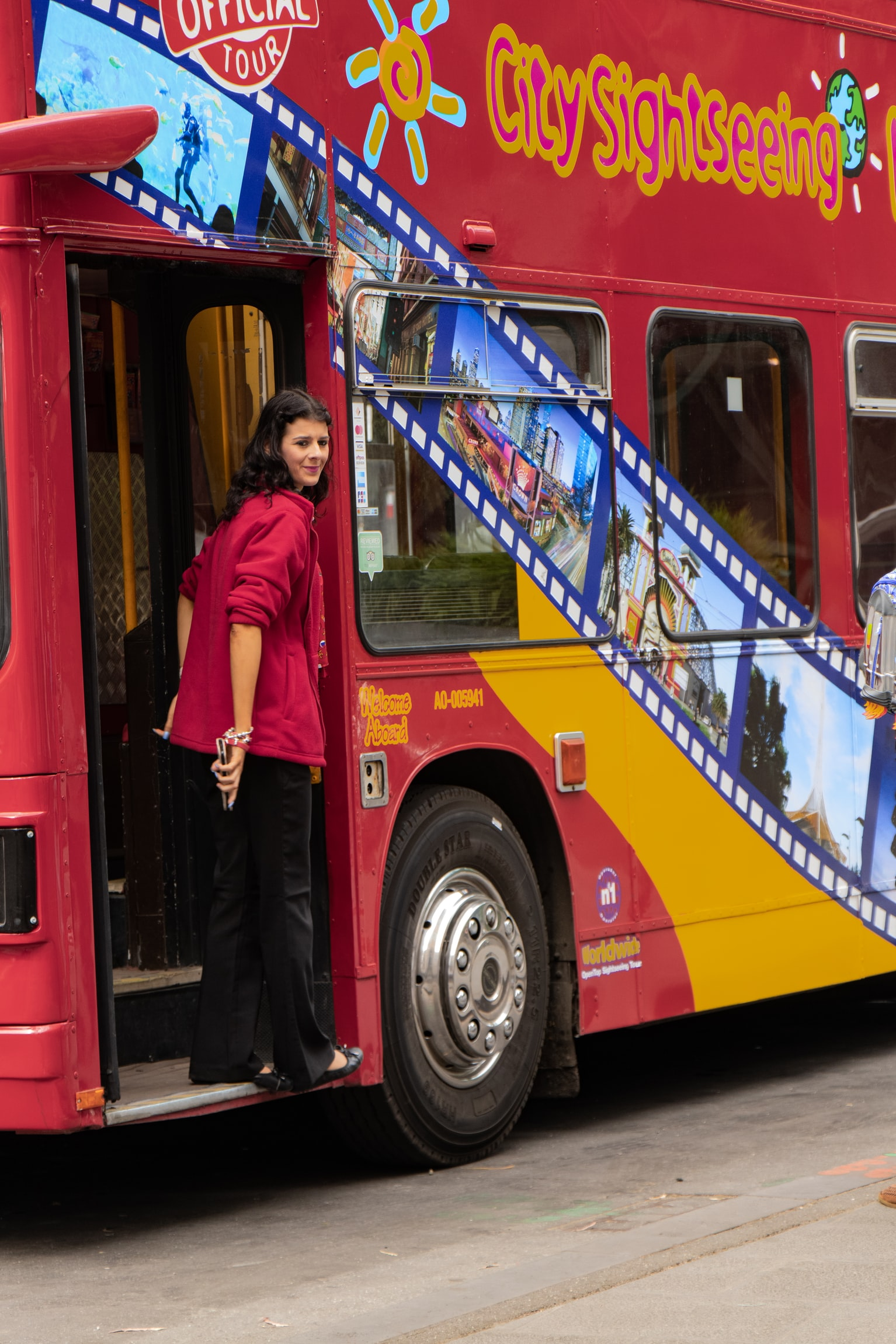 Tourist on a City Sightseeing Bus