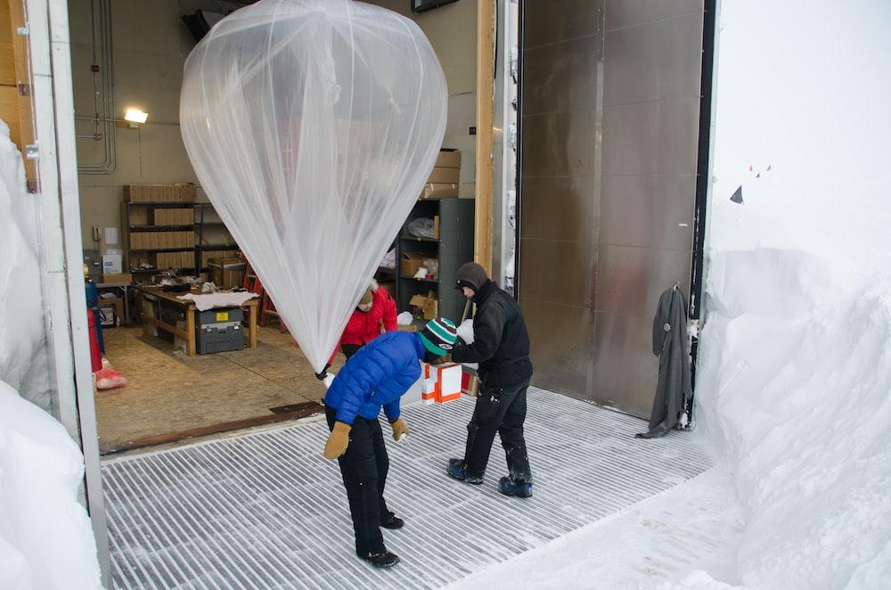 white net balloon hanged above