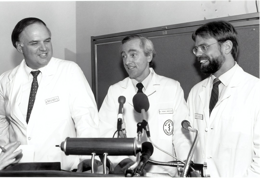 The Gene Therapy press conference held on September 13, 1990. From left to right: R. Michael Blaese, M.D., W. French Anderson, M.D., and Kenneth Culver,. M.D. 1990