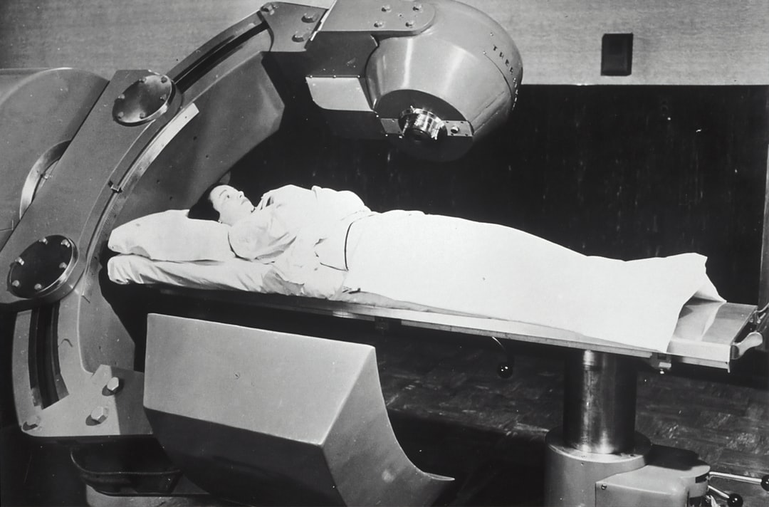 Patient receiving Cobalt 60 cancer therapy. 1951