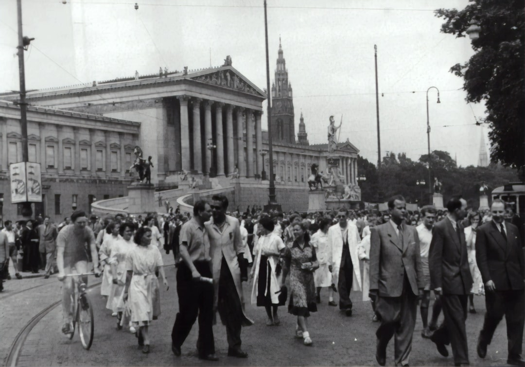 Student strike in Vienna. Demonstration train on the ring in front of the parliament. 1953