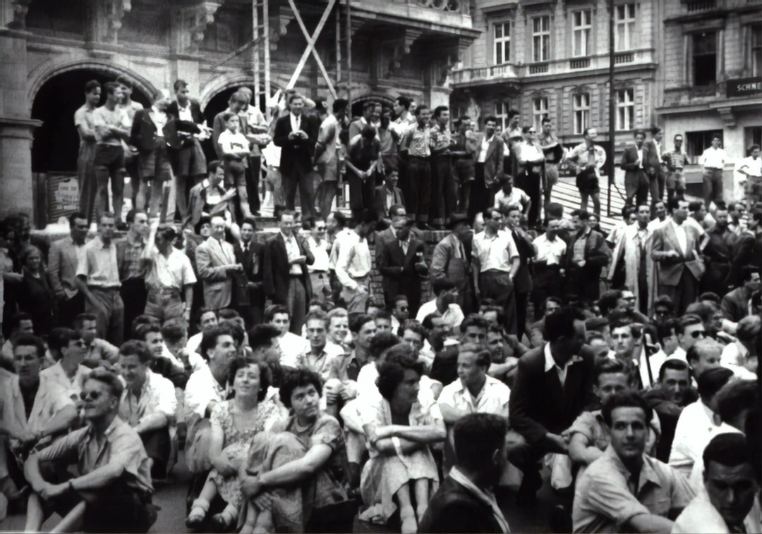 Student strike in front of the State Opera, Vienna, 1953