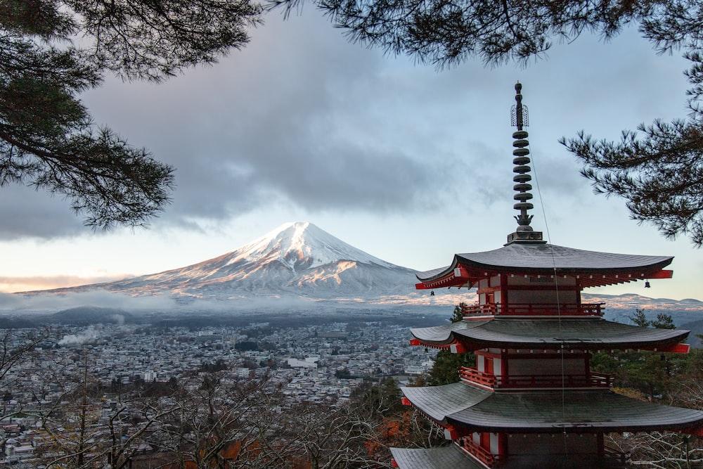 red and gray pagoda