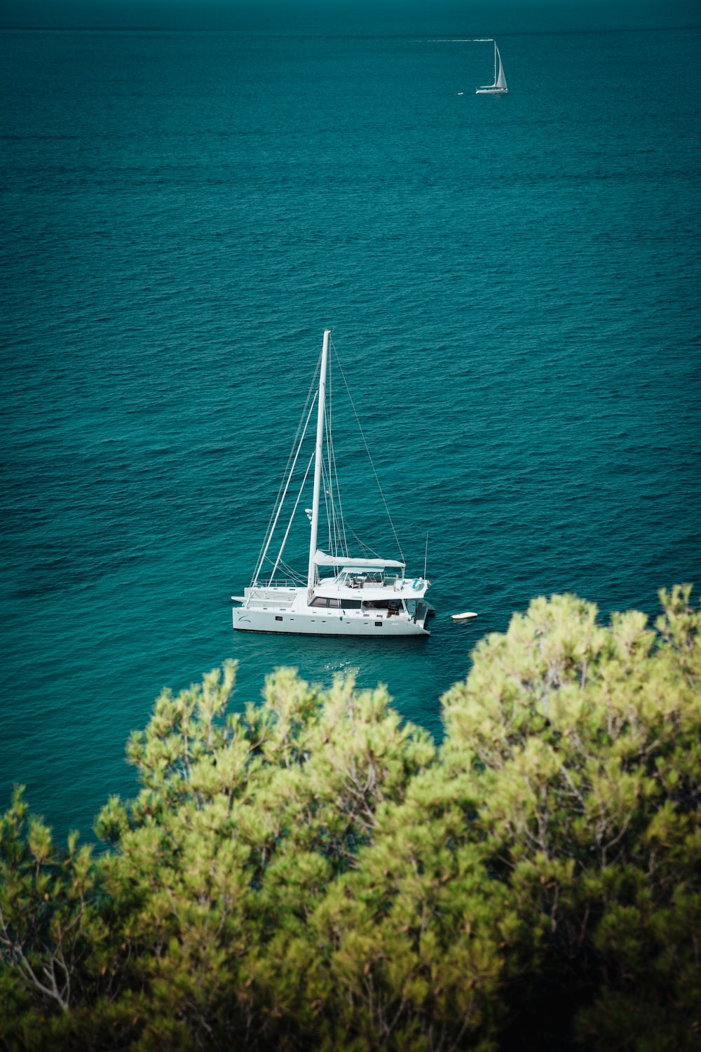 shallow focus photo of white boat on body of water