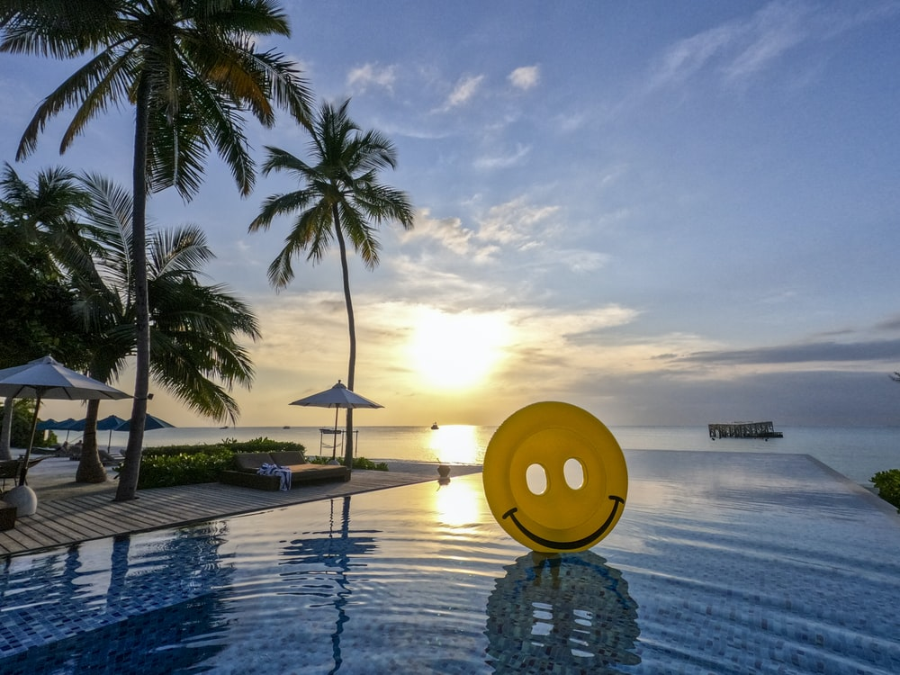infinity pool near cottage on resort