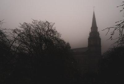 Church through fog
