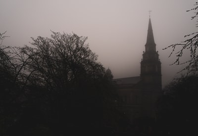 Church through fog
