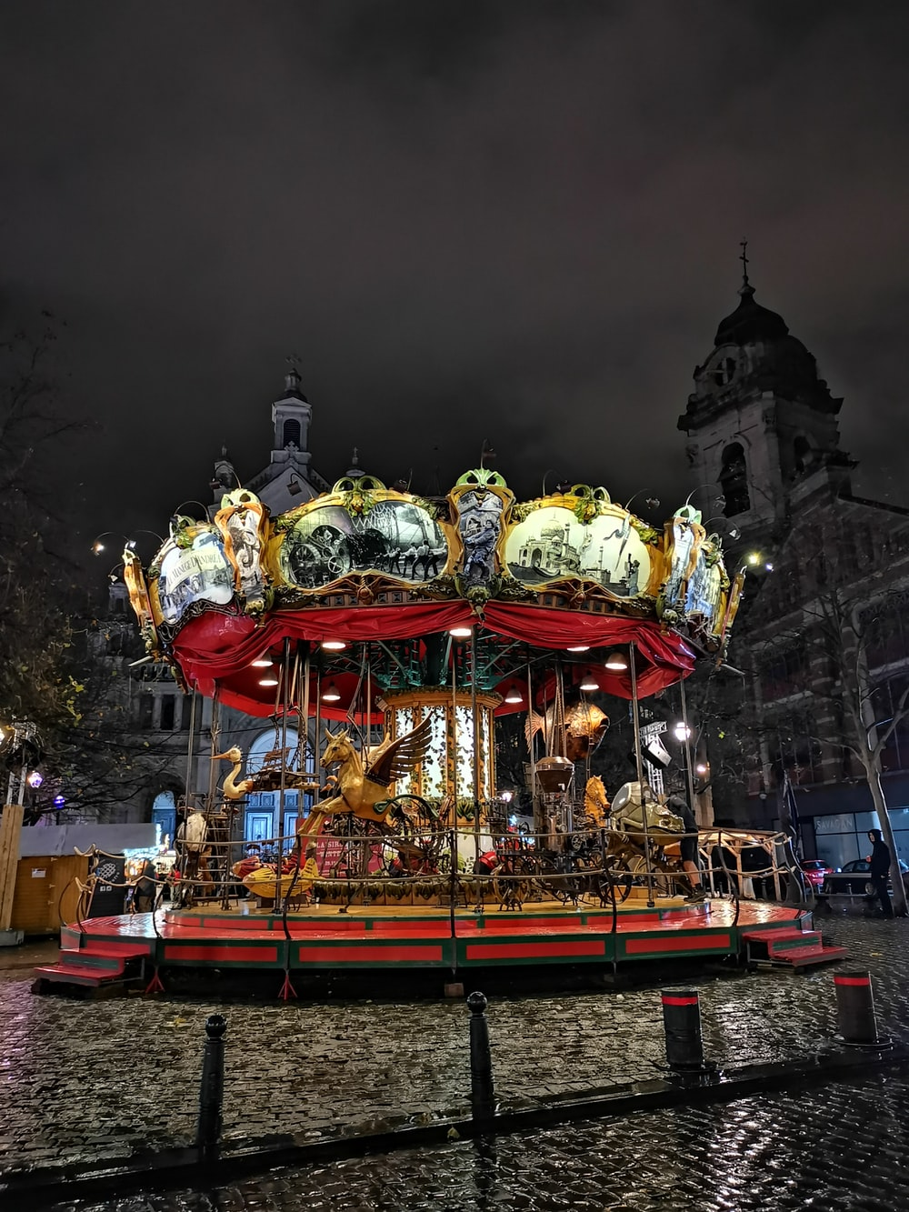 gold and red carousel