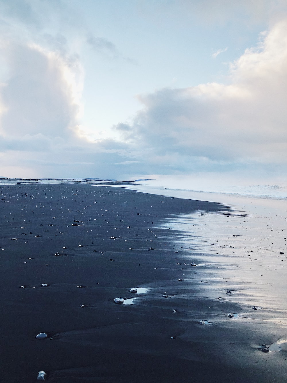 aerial photography of black sand