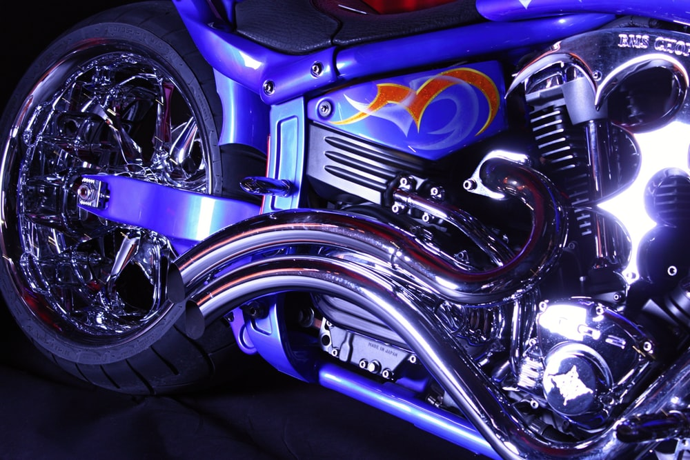 blue and gray motorcycle