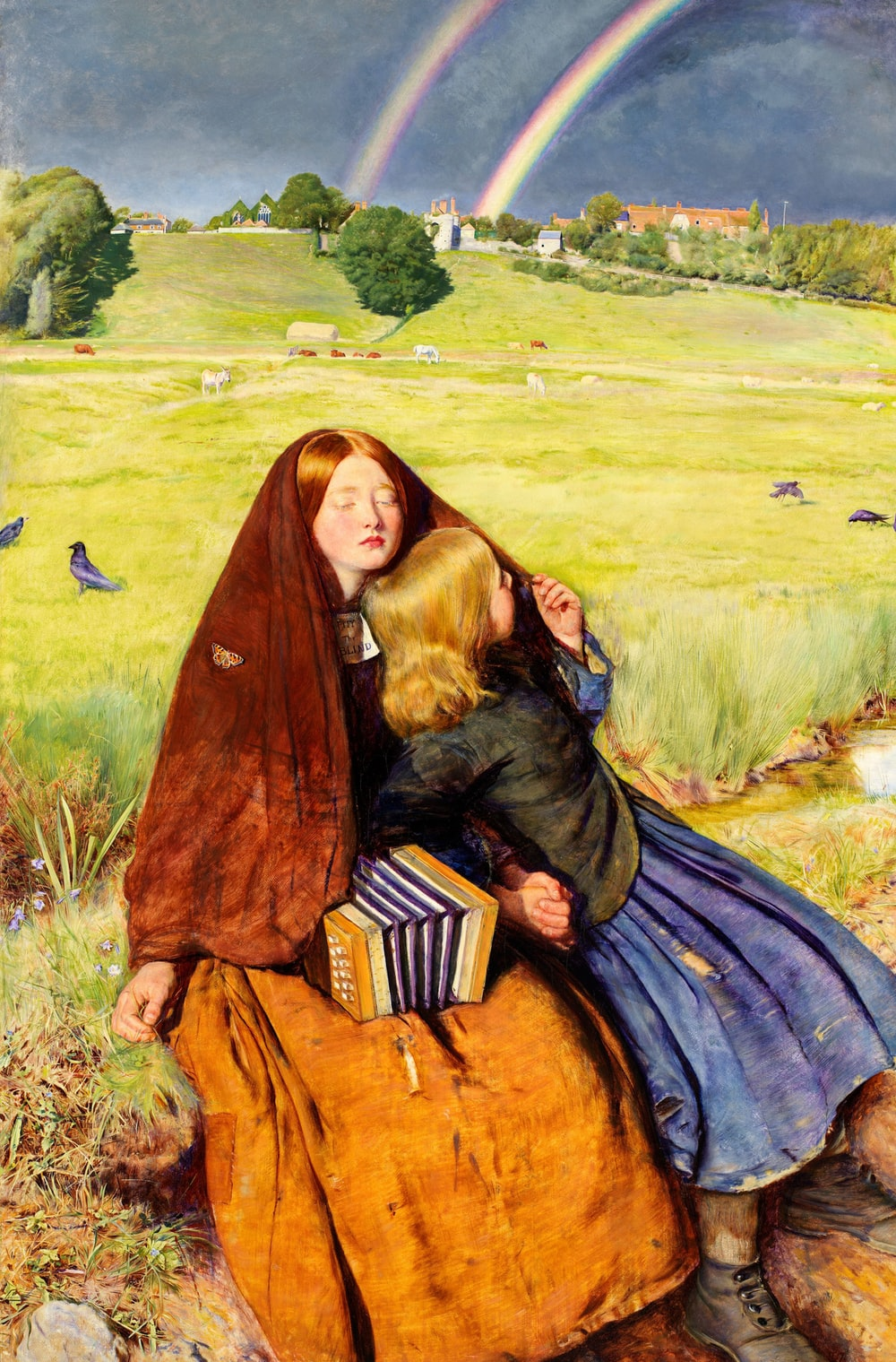 woman and toddler sitting beside field painting
