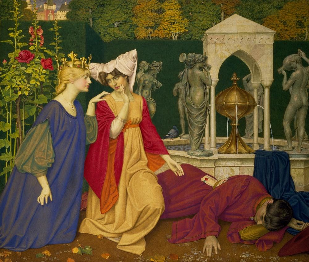 Queen and woman kneeling beside sleeping man painting