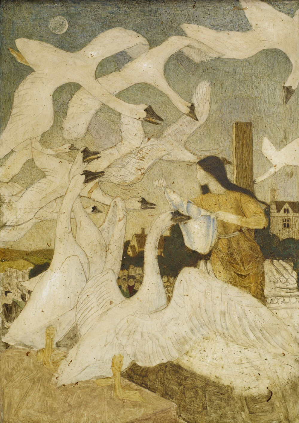 woman and white swans painting