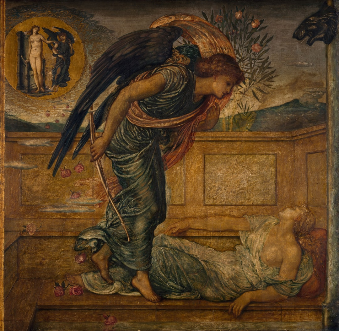 Cupid and Psyche - Palace Green Murals - Cupid Finding Psyche Asleep by a Fountain, 1881. By Sir Edward Burne-Jones and Walter Crane. A scene from William Morris' 'The Earthly Paradise'.