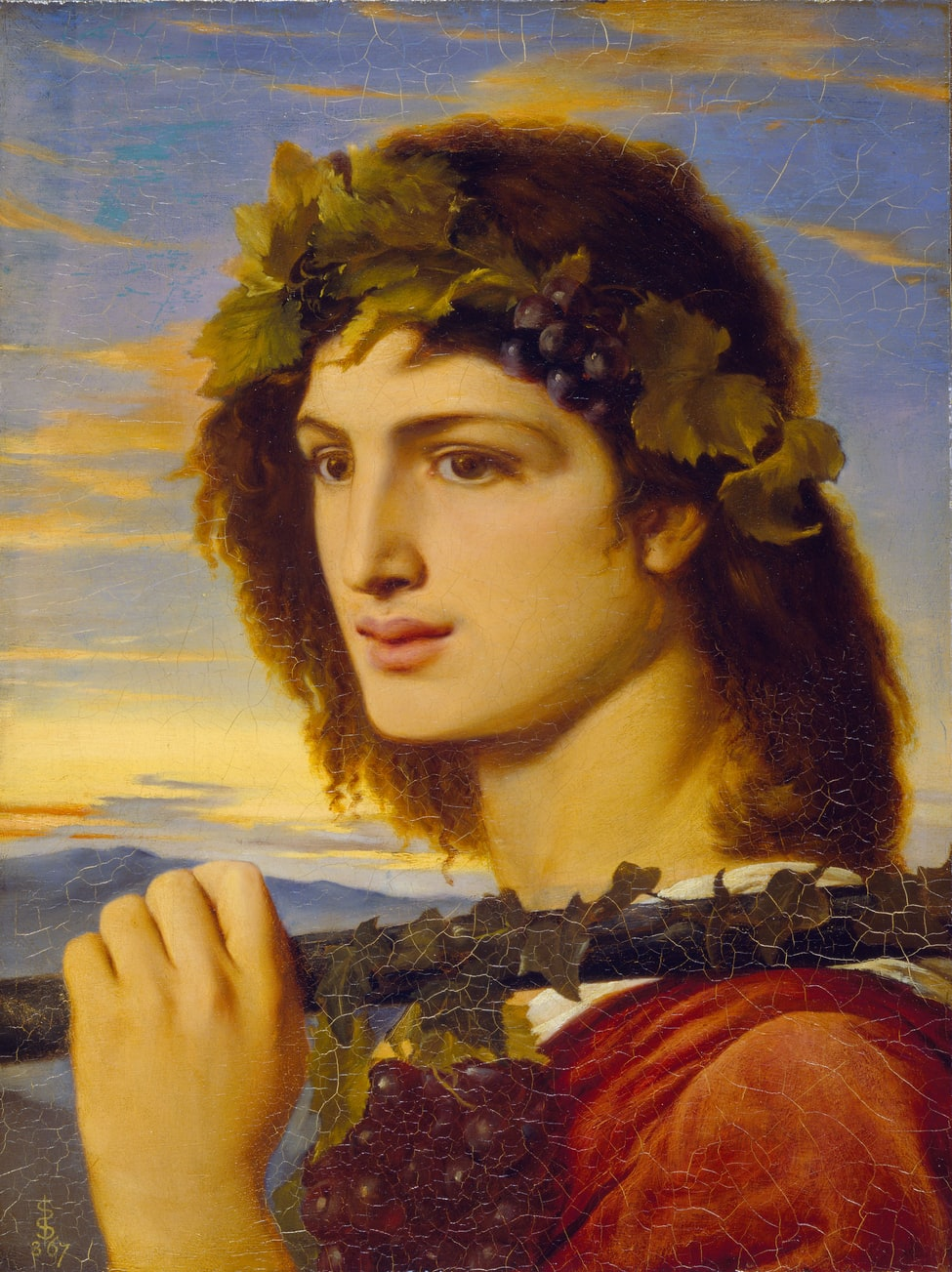 painting of bacchus, Roman god of agriculture, wine, and fertility