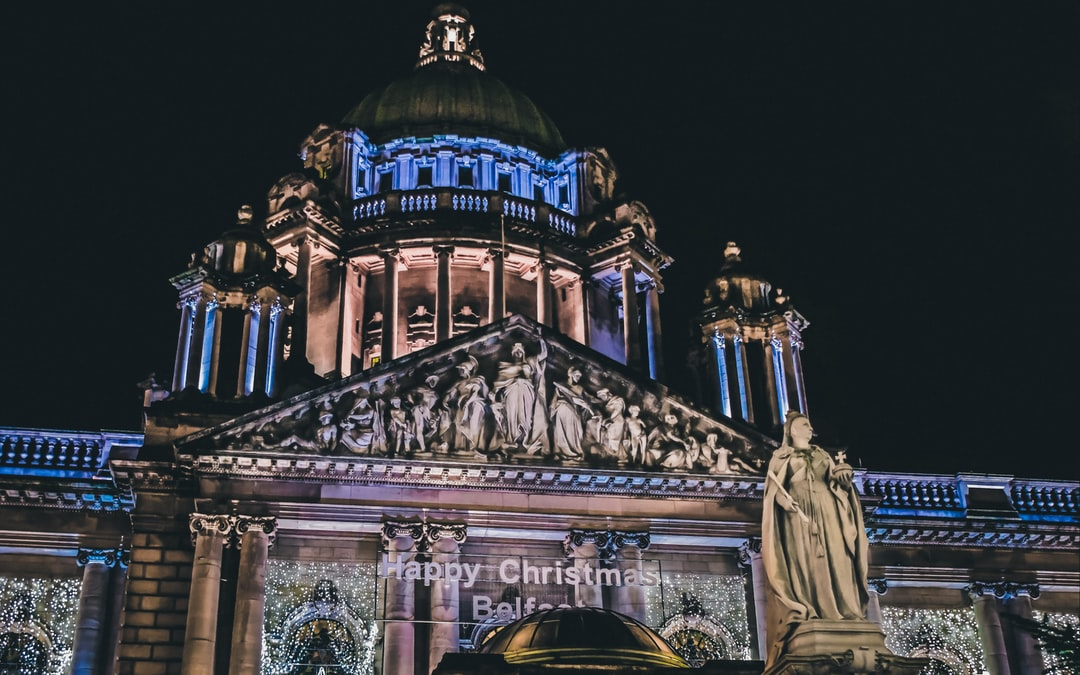 Queen Victoria oversees the Christmas festivities at the Christmas Market at Belfast City Hall.