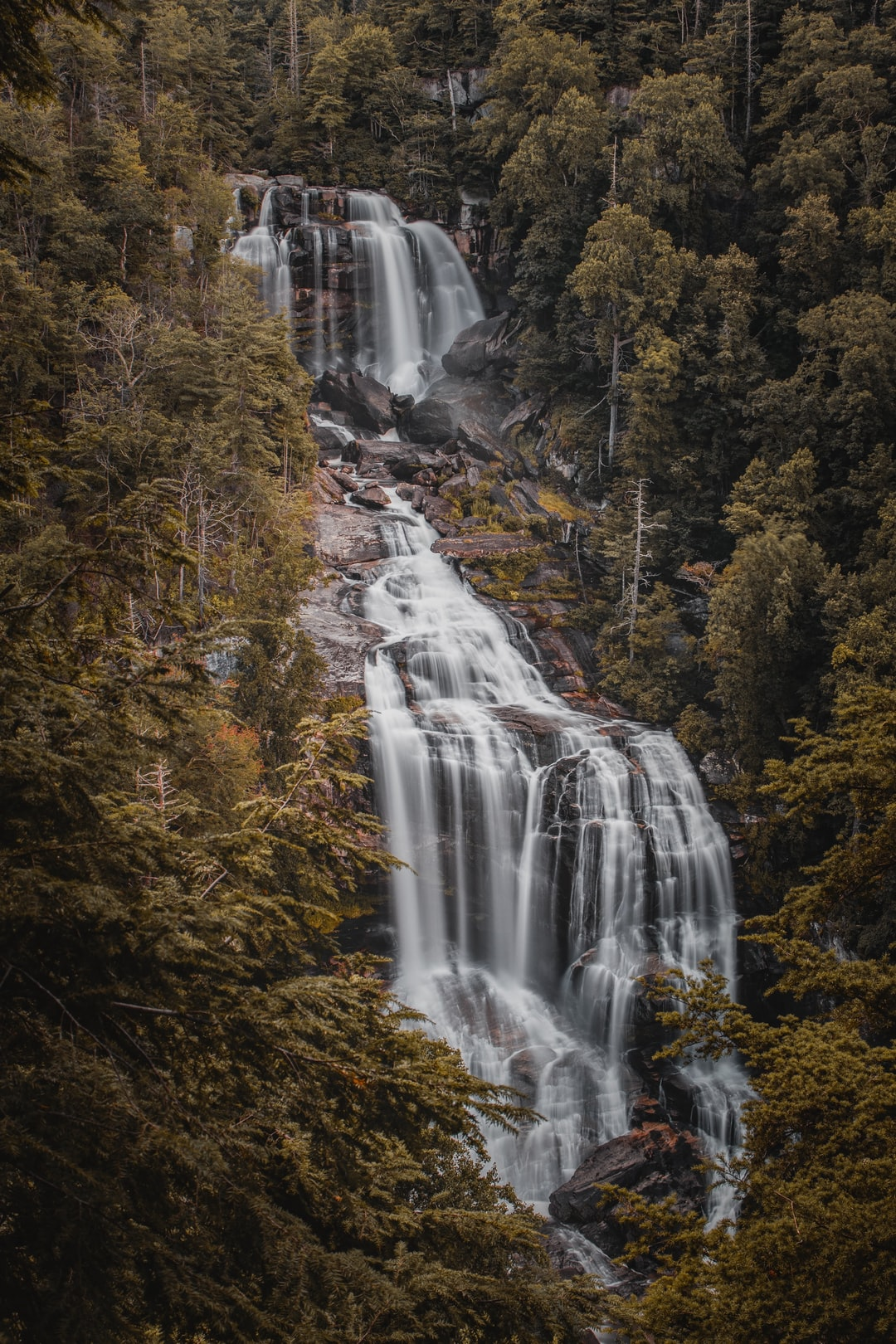 Long exposure of Whitewater falls in Cashiers, NC.