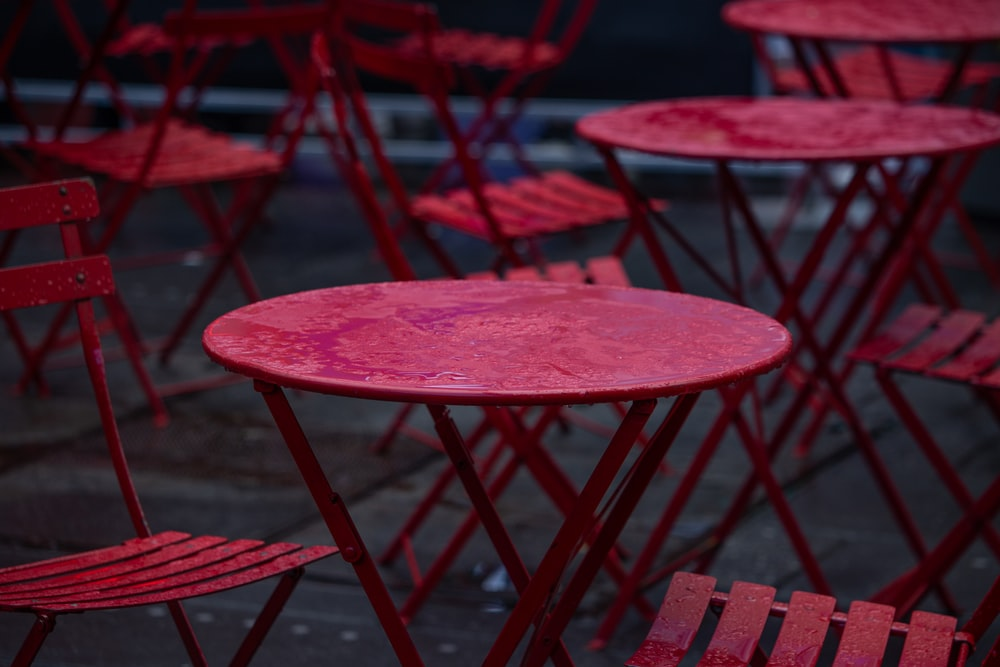 shallow focus photo of round pink wooden table