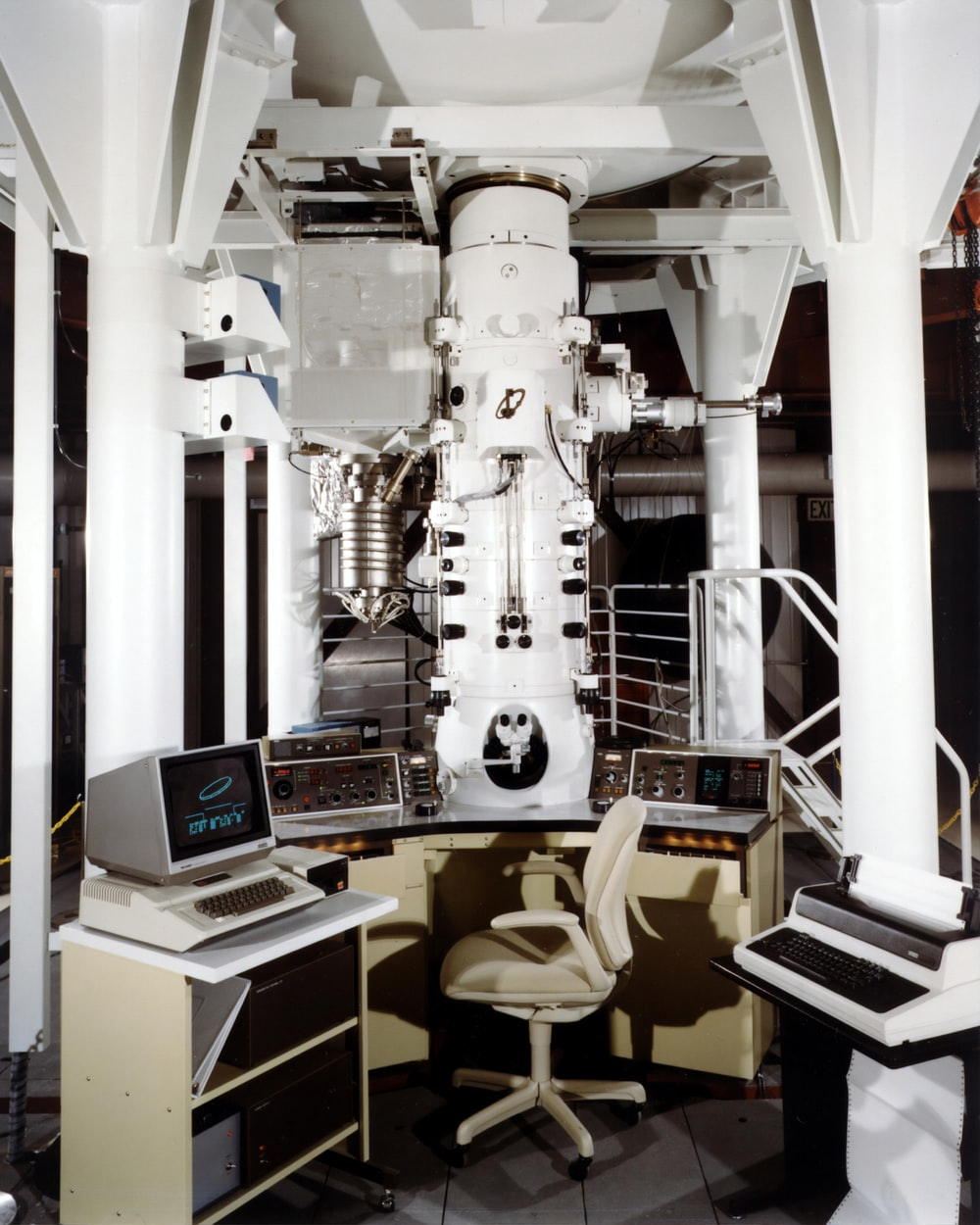 gray CRT computer monitor control panel table