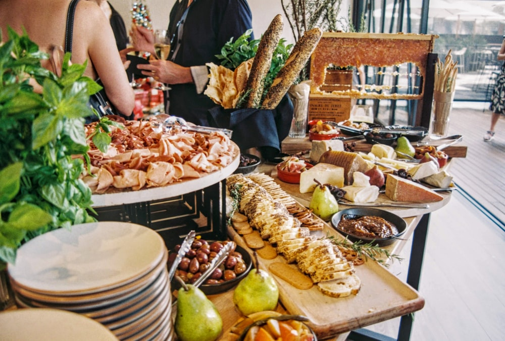 variety of food displayed on a table