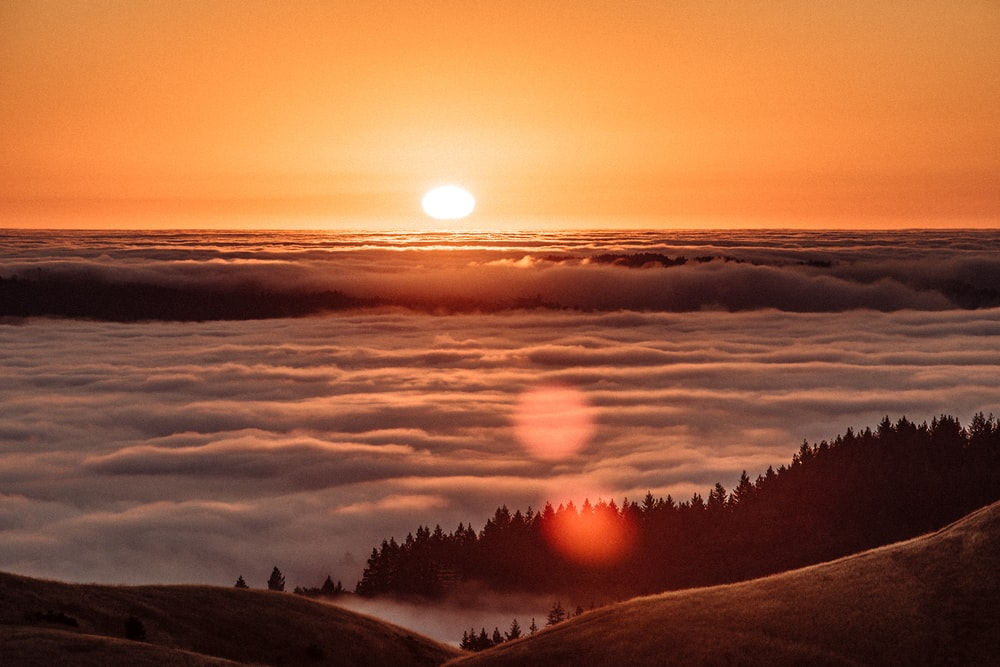 sea of clouds during sunrise