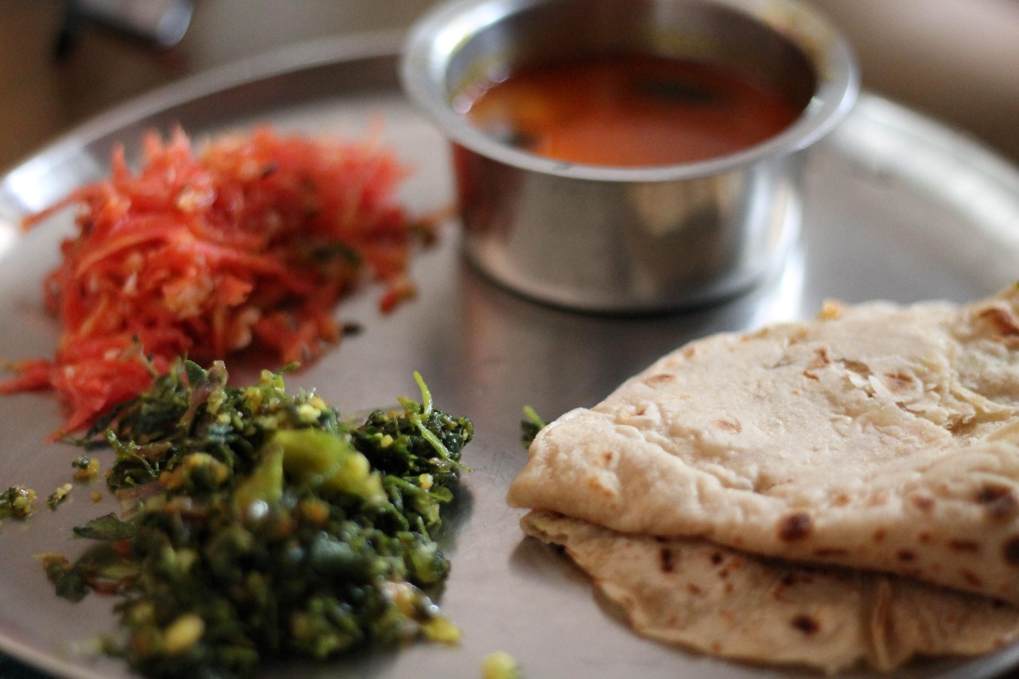 Indian meal, Lunch, Sabji, Salad, Chapati