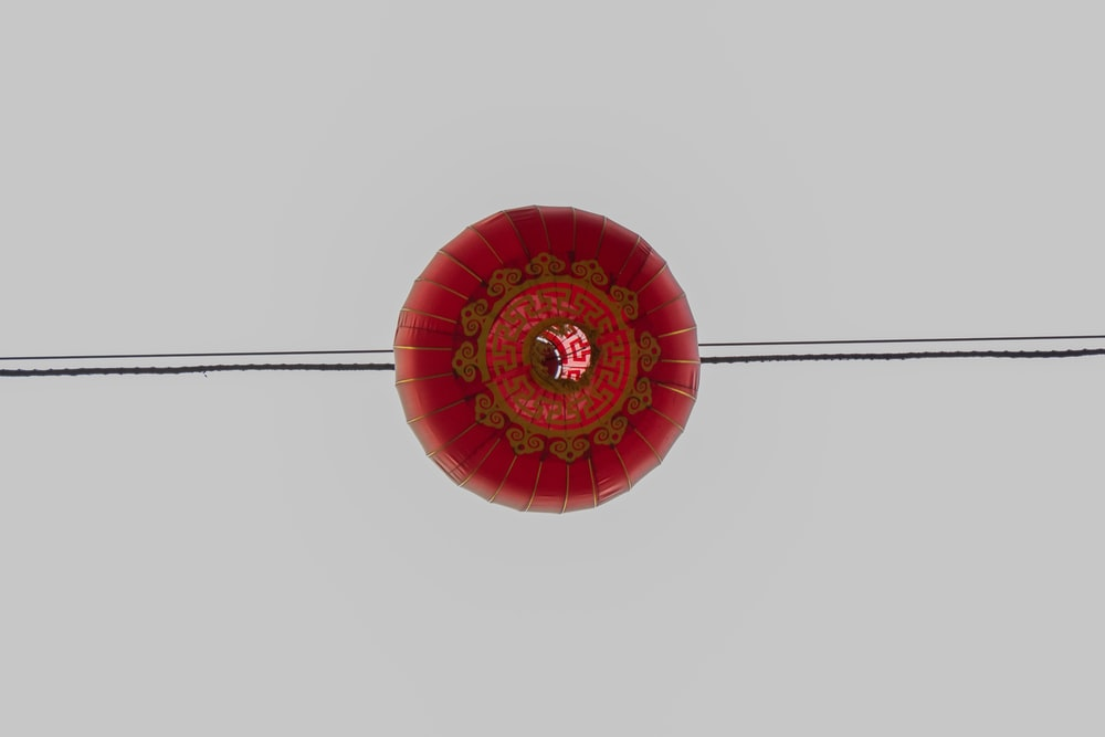 red and gold ball hanging decor