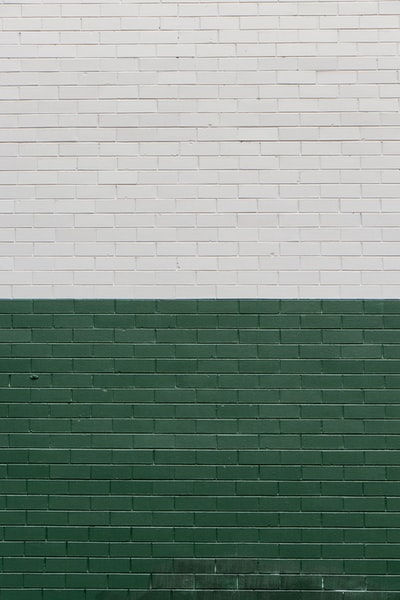 green and white painted wall
