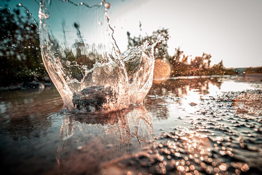 close-up photo of puddle splash