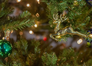 selective focus photography of baubles and deer ornament hanged on tree