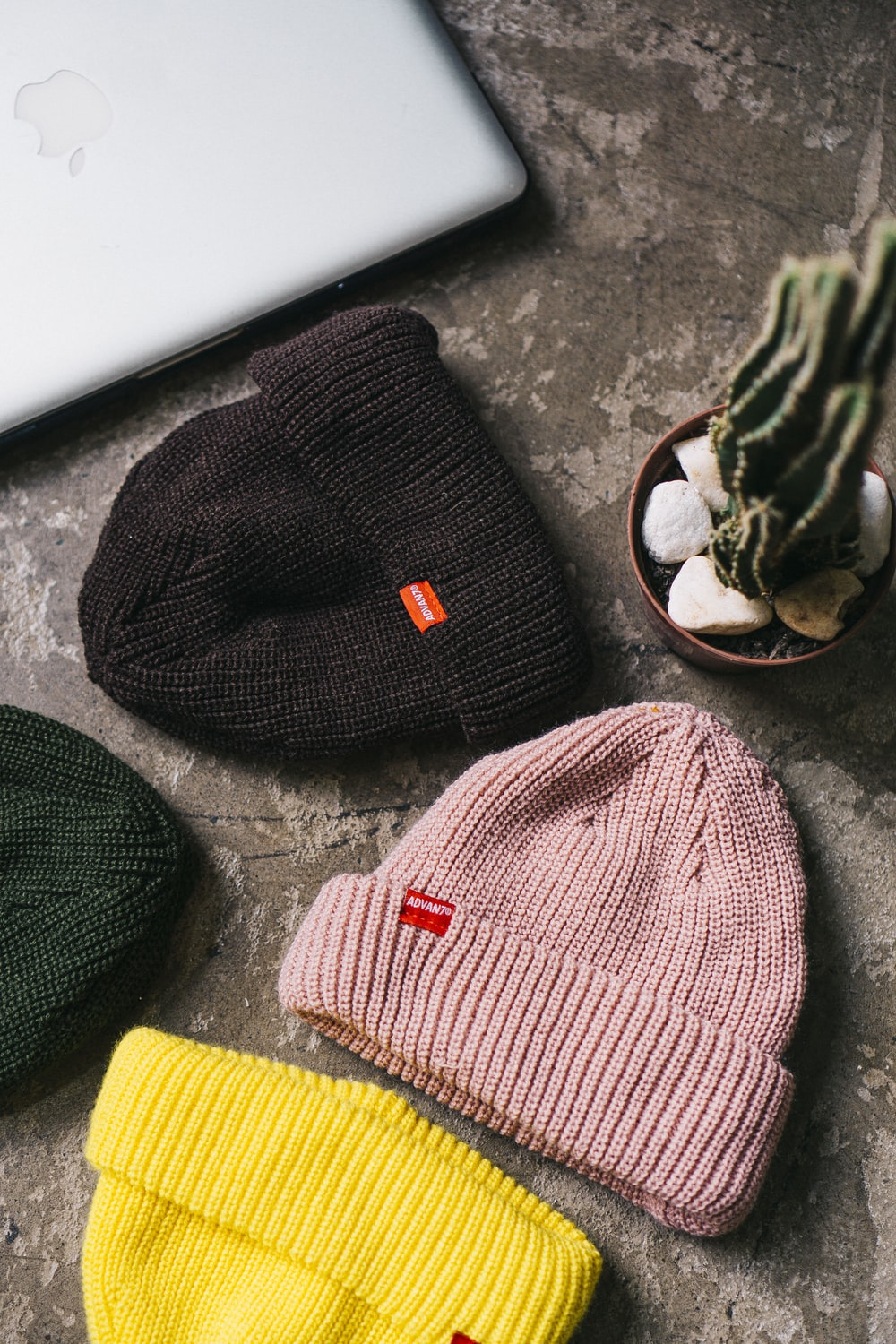 assorted-color knitted hat lot