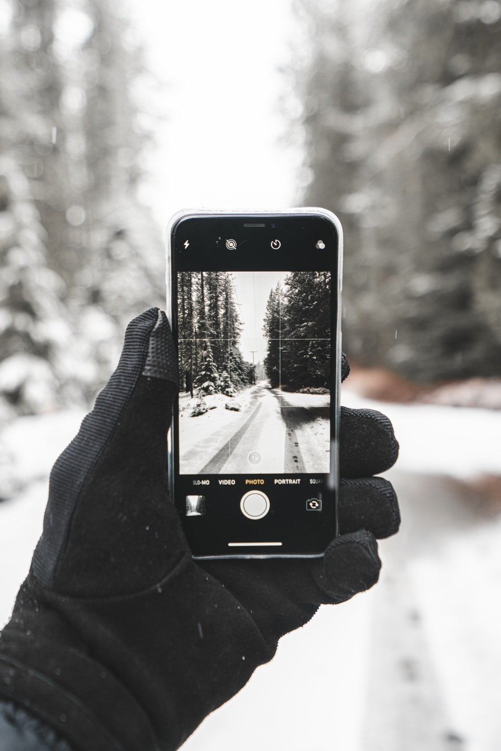 person taking picture of snowy way